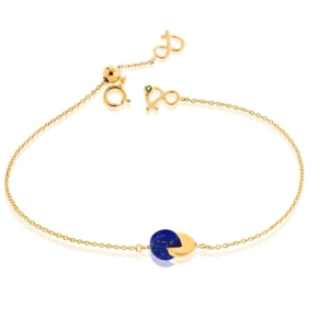 Bracelet eclipse lapis lazuli or jaune recyclé