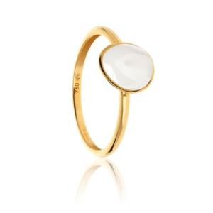 Bague Bestouan pierre de lune blanche pierre naturelle or jaune 18 carats recyclé mineral joaillerie femme