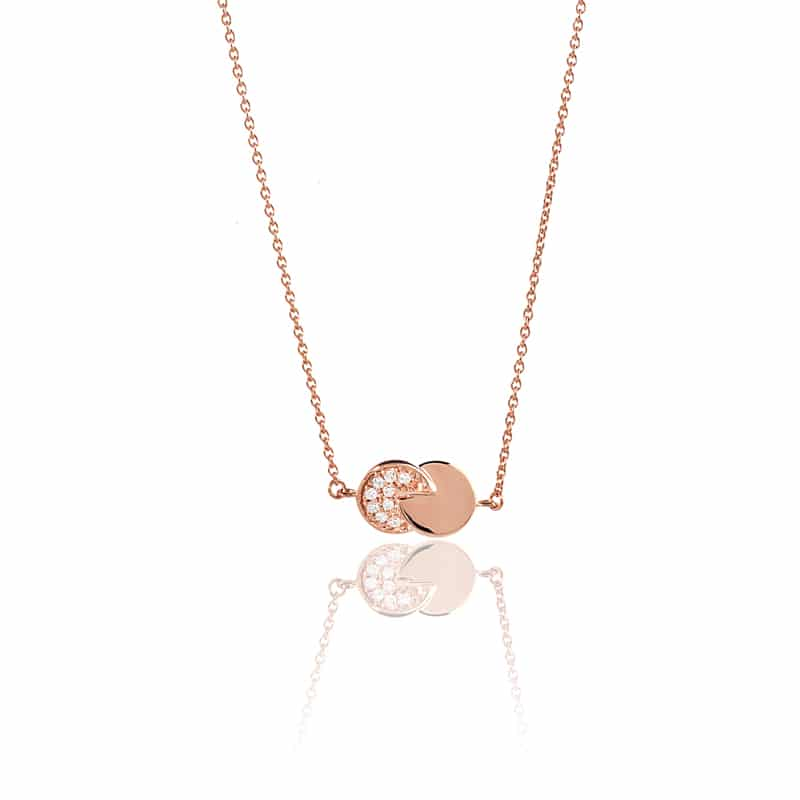 Collier or rose diamant eclipse femme
