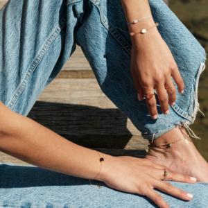 Bracelet Céleste Onyx pierre naturelle or 18 carats recyclé cordons Bestouan pierres naturelles or