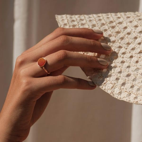 Bague Druzy cornélian pierre naturelle or 18 carats recyclé mineral joaillerie éthique femme