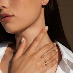 Bague Spirale diamant bague Esperluette diamant or rose 18 carats recyclé mineral joaillerie éthique