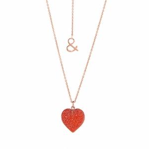 Collier coeur druzy cornélian or rose 18 carats recyclé pierres naturelles mineral joaillerie éthique femme esperluette love amour saint valentin