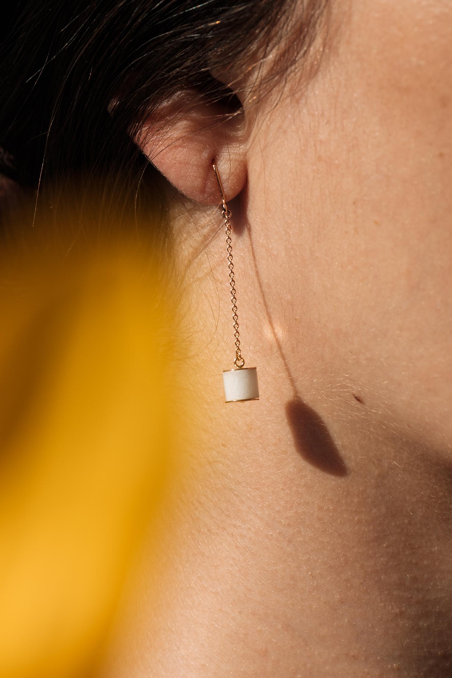 Boucles d'oreilles Céleste marbre de carrare pierre naturelle or rose 18 carats recyclé mineral joaillerie éthique femme