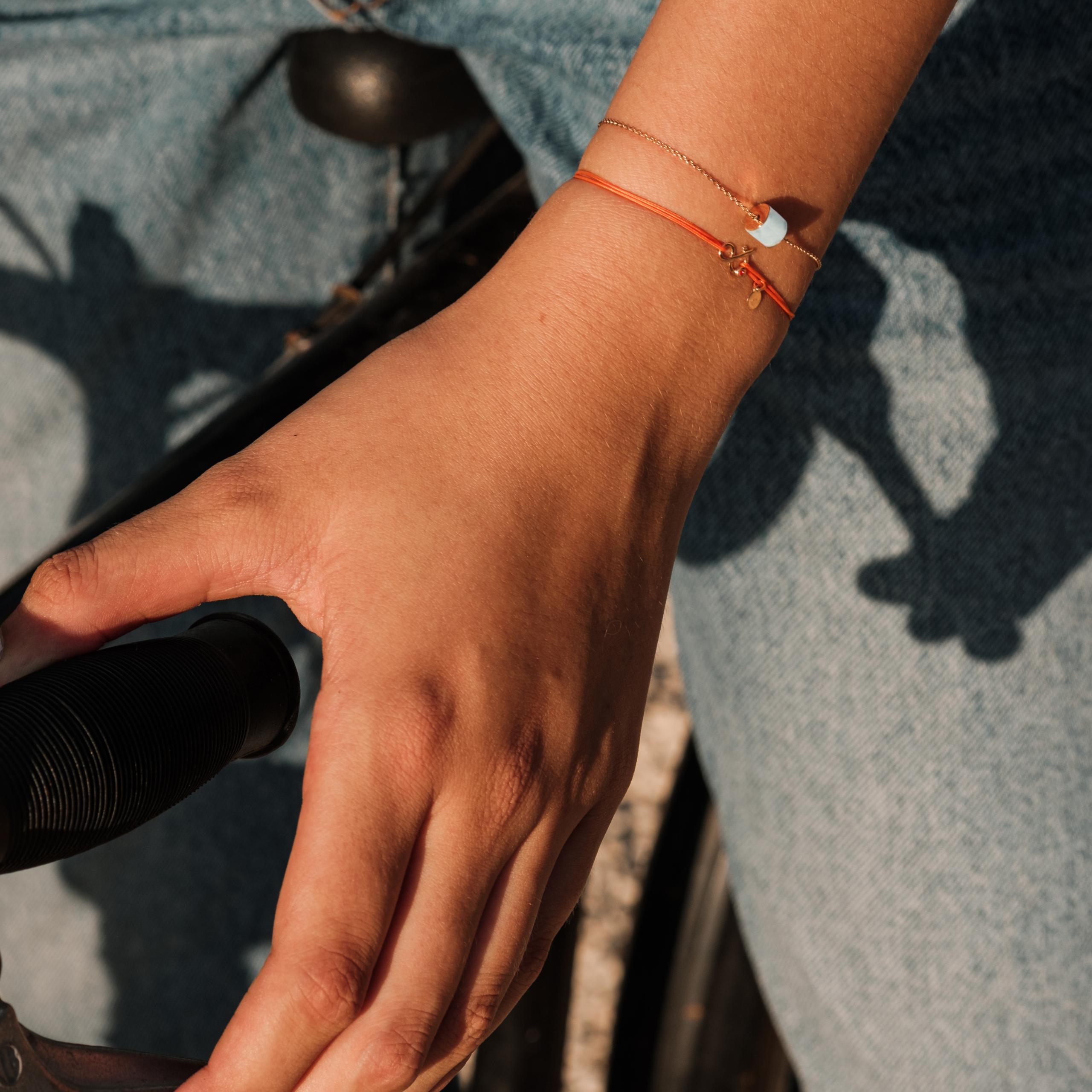 Bracelet Céleste marbre de carrare or rose 18 carats recyclé Bracelet cordon orange esperluette diamant pierre naturelle or 18 carats recyclé mineral joaillerie éthique femme bijoux mixtes
