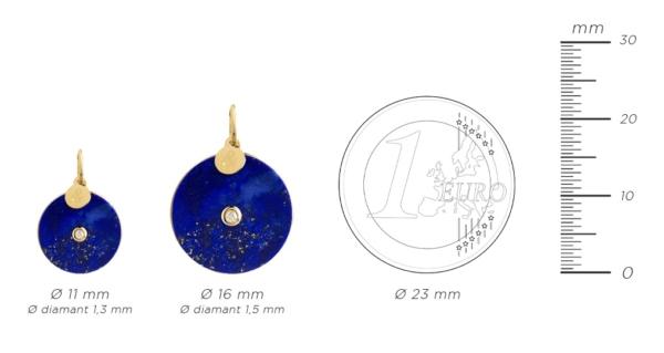 Médaille pendentif pi lapis lazuli diamant pierres naturelles or jaune 18 carats recyclé mineral joaillerie femme luxe