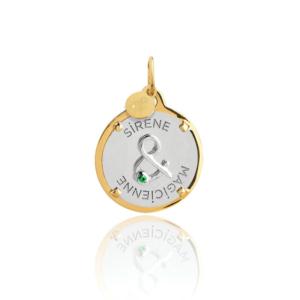 Médaille pendentif bar à médailles les précieuses esperluette sirène et magicienne diamant pierre naturelle or jaune 18 carats recyclé mineral joaillerie éthique femmeMédaille pendentif bar à médailles les précieuses galet calcédoine pierre naturelle or jaune 18 carats recyclé mineral joaillerie éthique femme