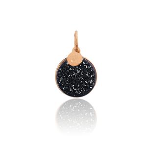Médaille pendentif bar à médailles les précieuses Druzy onyx pierre naturelle or rose 18 carats recyclé mineral joaillerie éthique femme