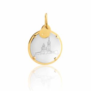 Médaille pendentif bar à médailles les précieuses notre dame de la garde blanche pierre naturelle or jaune 18 carats recyclé mineral joaillerie éthique femme