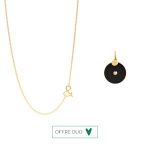 Médaille pendentif chaine Pi onyx diamant pierres naturelles or jaune 18 carats recyclé mineral joaillerie éthique femme