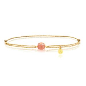 Bracelet cordon or lurex Bestouan pierre de lune sunset pierre naturelle or jaune 18 carats recyclé mineral joaillerie éthique bijoux mixtes