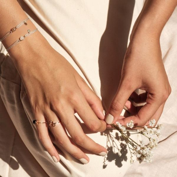 mineral joaillerie cordons bracelets lurex bagues