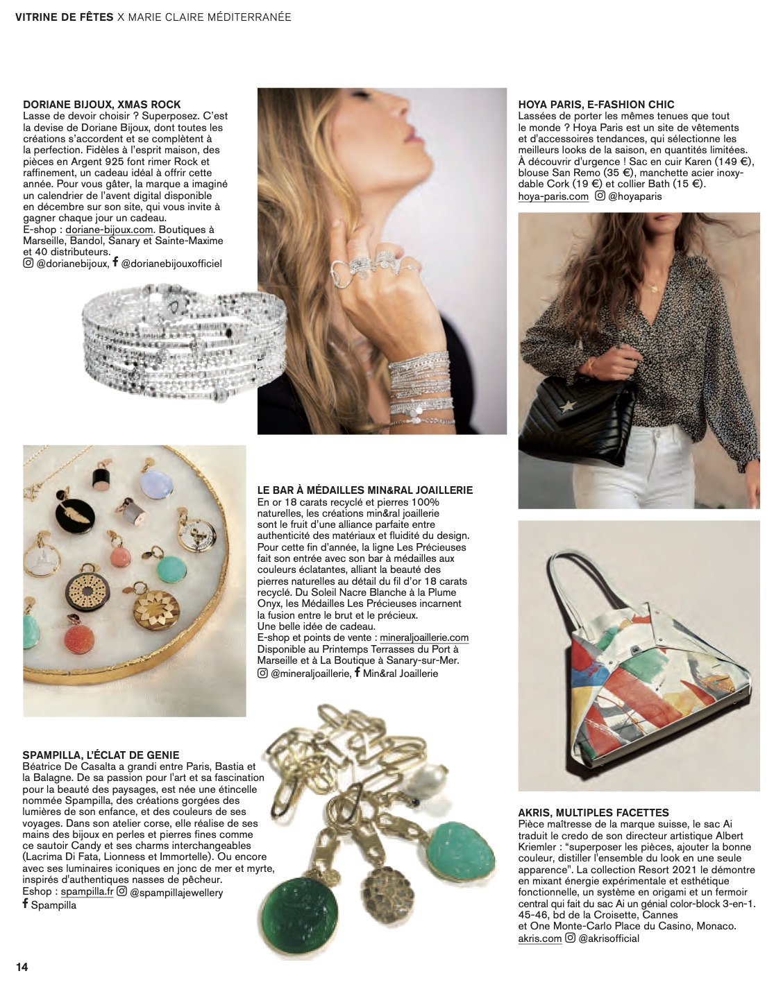 Couverture Marie Claire PACA mineral joaillerie