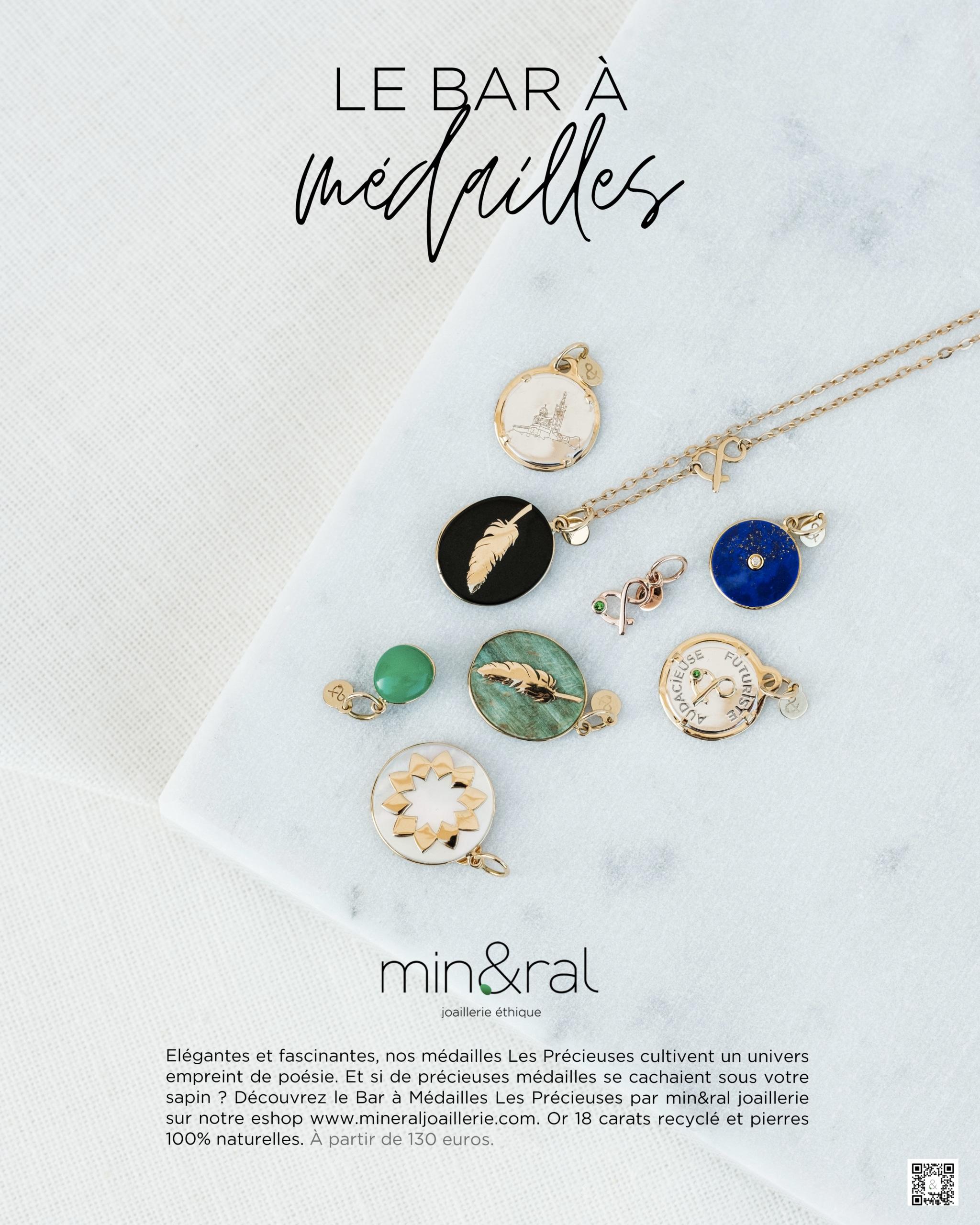 Le bar à médailles mineral joaillerie les précieuses lapis lazuli onyx jade verte chrysoprase nacre blanche diamant pierres naturelles éthique femme