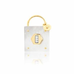 Médaille pendentif les précieuses Cadenas nacre blanche pierre naturelle or jaune 18 carats recyclé mineral joaillerie éthique love