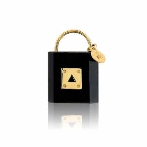 medaille cadenas onyx précieuse or 18 carats Mineral Joaillerie