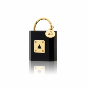 medaille cadenas onyx précieuse or 18 carats Mineral Joaillerie éthique