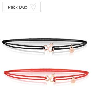 Duo Esperluette bracelet cordon rubis rouge diamant noir pierres naturelles or 18 carats recyclé
