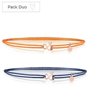 Duo Esperluette bracelet cordon saphir bleu saphir orange pierres naturelles or 18 carats recyclé