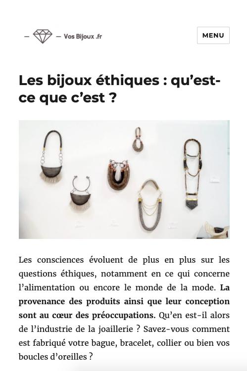 Les bijoux éthiques : qu'est ce que c'est?