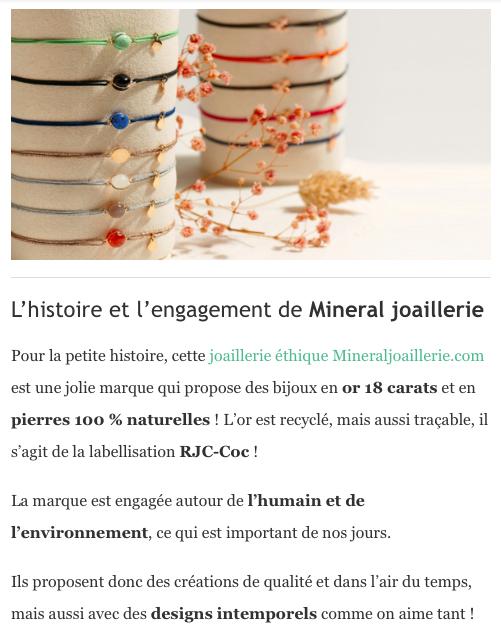 L'histoire et l'engagement de mineral joaillerie