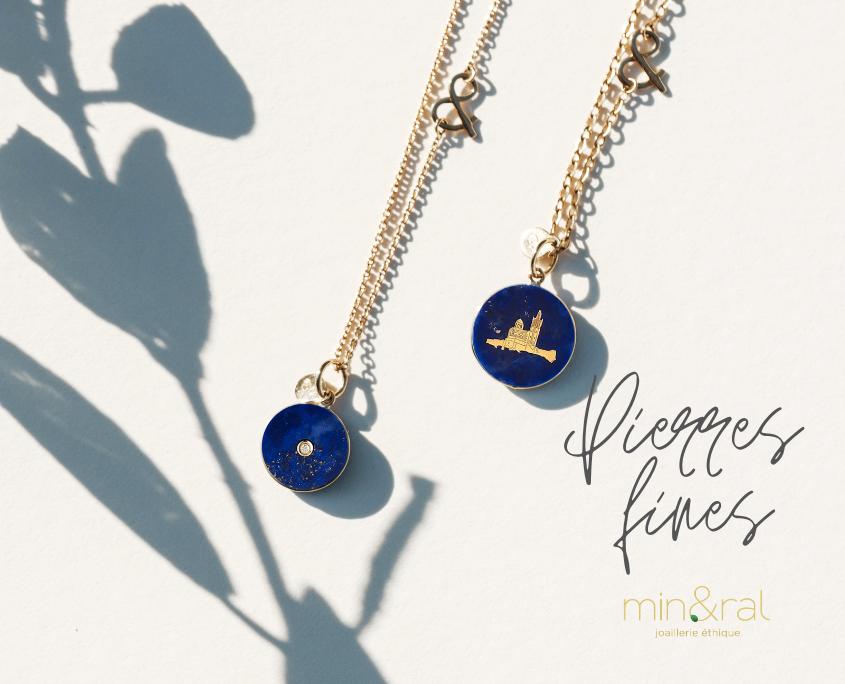 Médaille pendentif or jaune 18 carats recyclé médaille pi lapis lazuli diamant pierres naturelles médaille notre dame de la garde lapis lazuli mineral joaillerie