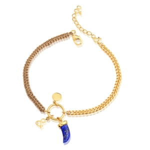 lapis lazuli ankle dent requin gold plated minéral joaillerie natural stones