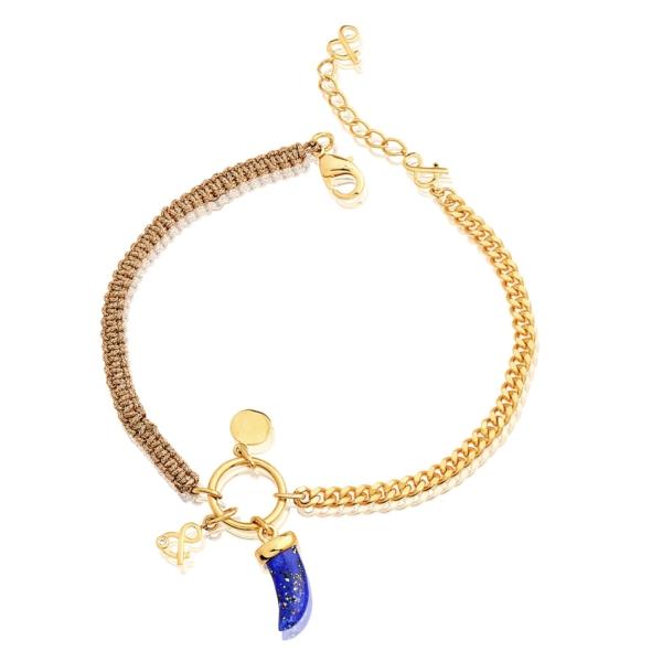 Chaîne de cheville calypso lapis lazuli pierre naturelle plaqué or mineral joaillerie femme