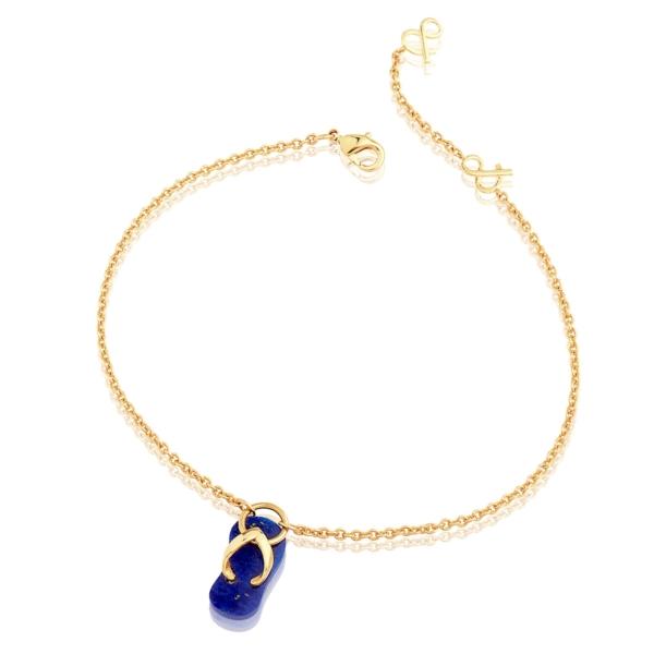Chaîne de cheville gaïa lapis lazuli pierre naturelle plaqué or mineral joaillerie femme