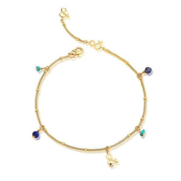 Chaîne de cheville naïade lapis lazuli turquoise pierres naturelles plaqué or mineral joaillerie femme