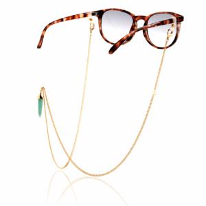 Chaîne de lunettes amazonite plaqué or pierre naturelle mineral joaillerie femme