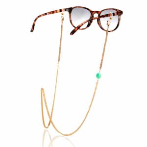 Chaîne de lunettes chrysoprase plaqué or pierre naturelle mineral joaillerie femme