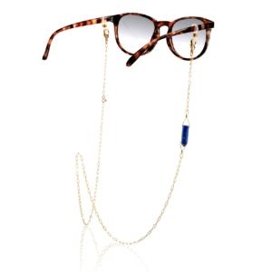 Chaîne de lunettes lapis lazuli plaqué or pierre naturelle mineral joaillerie femme