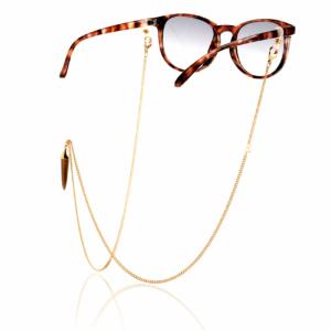 Chaîne de lunettes oeil de tigre marron plaqué or pierre naturelle mineral joaillerie femme