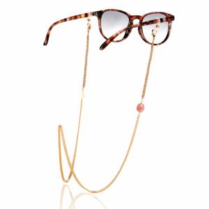 Chaîne de lunettes sunset plaqué or pierre naturelle mineral joaillerie femme