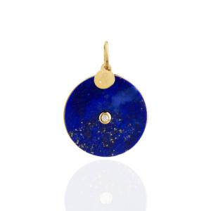 Médaille pendentif pi lapis lazuli diamant pierre naturelle or jaune 18 carats recyclé mineral joaillerie femme
