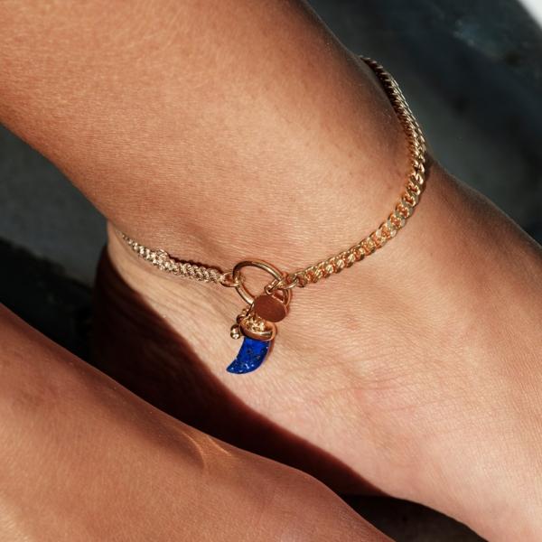 Chaîne de cheville lapis lazuli pierre naturelle bleue femme mineral joaillerie