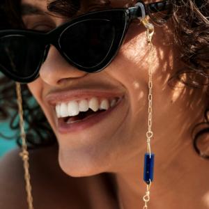 Chaîne de lunette eos lapis lazuli pierre naturelle plaqué or femme lunettes de soleil