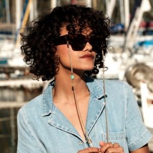 Chaîne de lunettes pierre naturelle chrysoprase bleu vert plaqué or lunettes de soleil femme