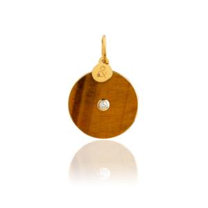 Médaille pendentif pi jade verte pierre naturelle or jaune 18 carats recyclé mineral joaillerie femme