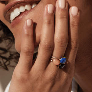 Bagues Bestouan lapis lazuli sunset onyx pierres naturelles or jaune 18 carats recyclé mineral joaillerie