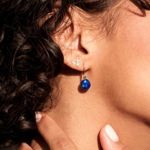 boucles d'oreilles lapis-lazuli pierre naturelle or jaune 18 carats recyclé mineral joaillerie éthique