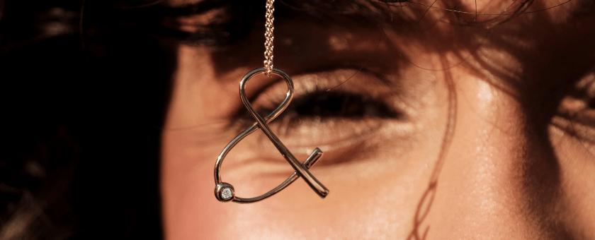 Collier Esperluette diamant pierre naturelle or 18 carats recyclé mineral joaillerie femme infini