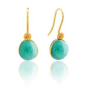 Boucles d'oreilles Bestouan amazonite pierre naturelle or jaune 18 carats recyclé mineral joaillerie femme