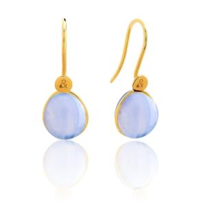 Boucles d'oreilles Bestouan calcédoine bleue pierre naturelle or jaune 18 carats recyclé mineral joaillerie femme