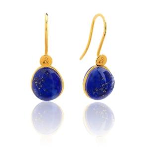 Boucles d'oreilles Bestouan lapis lazuli pierre naturelle or jaune 18 carats recyclé mineral joaillerie femme
