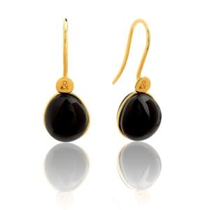Boucles d'oreilles Bestouan onyx pierre naturelle or jaune 18 carats recyclé mineral joaillerie femme