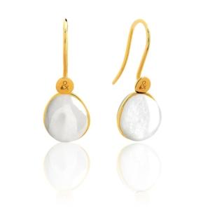 Boucles d'oreilles Bestouan pierre de lune blanche pierre naturelle or jaune 18 carats recyclé mineral joaillerie femme