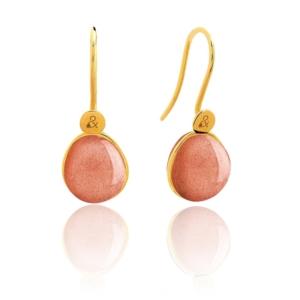 Boucles d'oreilles Bestouan sunset pierre naturelle or jaune 18 carats recyclé mineral joaillerie femme