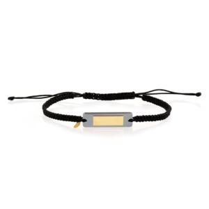 bracelet cordon mixte hematite or 18 carats recyclé